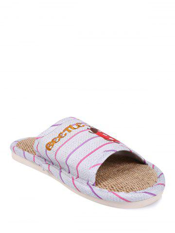 Outfit Insect Striped Jute Insert Indoor Slippers - SIZE(38-39) PURPLE Mobile