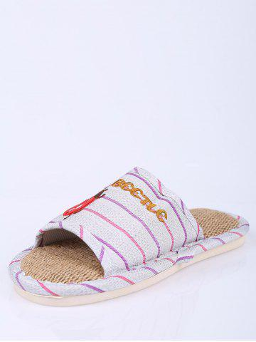 New Insect Striped Jute Insert Indoor Slippers - SIZE(38-39) PURPLE Mobile
