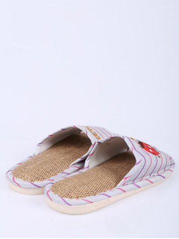 Unique Insect Striped Jute Insert Indoor Slippers - SIZE(38-39) PURPLE Mobile