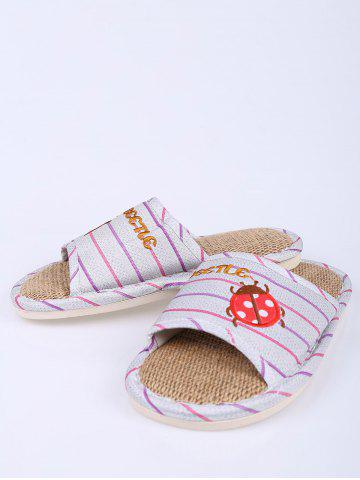Shop Insect Striped Jute Insert Indoor Slippers - SIZE(38-39) PURPLE Mobile