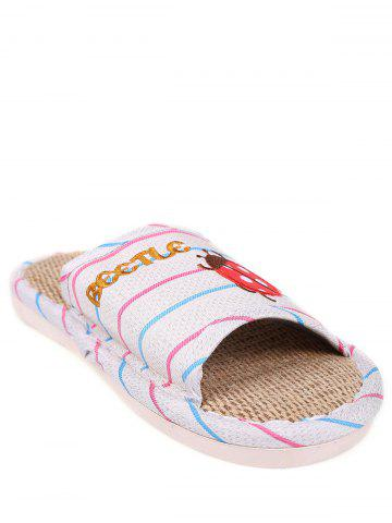 Trendy Insect Striped Jute Insert Indoor Slippers