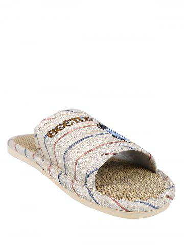 Discount Jute Panel Beetle Striped House Slippers - SIZE(42-43) RED Mobile