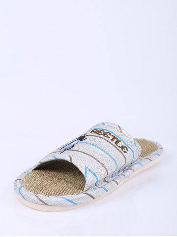 Best Jute Panel Beetle Striped House Slippers - SIZE(42-43) BLUE Mobile