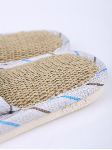 Affordable Jute Panel Beetle Striped House Slippers - SIZE(42-43) BLUE Mobile