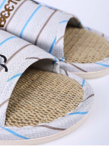 Latest Jute Panel Beetle Striped House Slippers - SIZE(42-43) BLUE Mobile