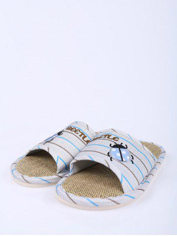 Cheap Jute Panel Beetle Striped House Slippers - SIZE(42-43) BLUE Mobile