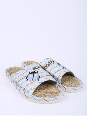 Outfit Jute Panel Beetle Striped House Slippers - SIZE(42-43) BLUE Mobile
