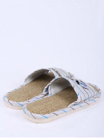 Chic Jute Panel Beetle Striped House Slippers - SIZE(42-43) BLUE Mobile