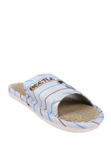 Best Jute Panel Beetle Striped House Slippers - SIZE(44-45) BLUE Mobile