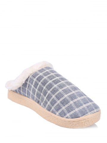 Cheap Flocking Grid House Slippers BLUE SIZE(42-43)