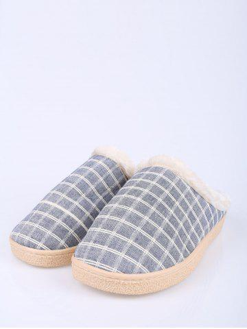 Latest Flocking Grid House Slippers - SIZE(44-45) BLUE Mobile