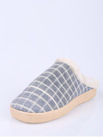 Chic Flocking Grid House Slippers - SIZE(44-45) BLUE Mobile