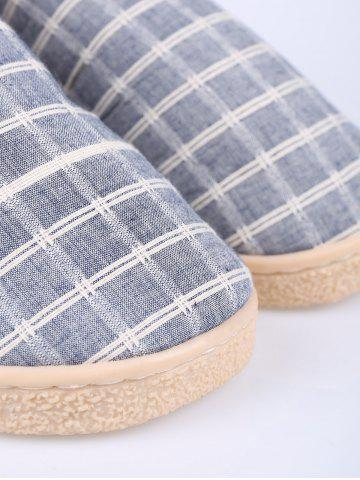Cheap Flocking Grid House Slippers - SIZE(44-45) BLUE Mobile