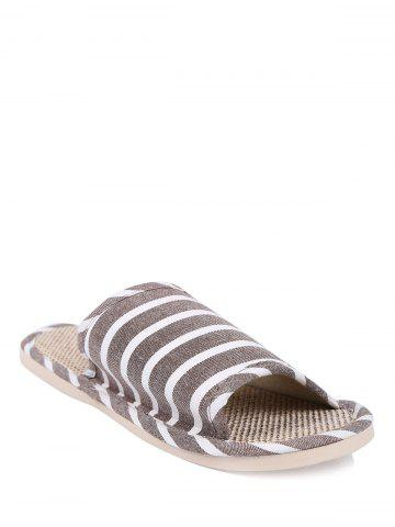 Chic Striped Cotton Fabric Bath Slippers - SIZE(42-43) COFFEE Mobile
