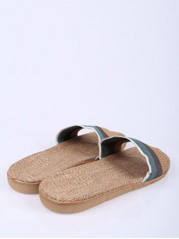 Latest Jute Panel House Color Block Slippers - SIZE(42-43) GREEN Mobile