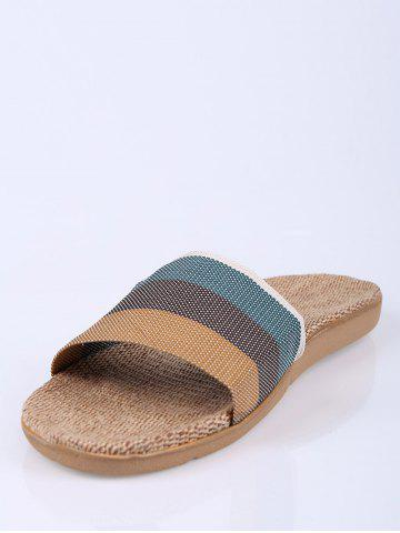 Cheap Jute Panel House Color Block Slippers - SIZE(42-43) GREEN Mobile