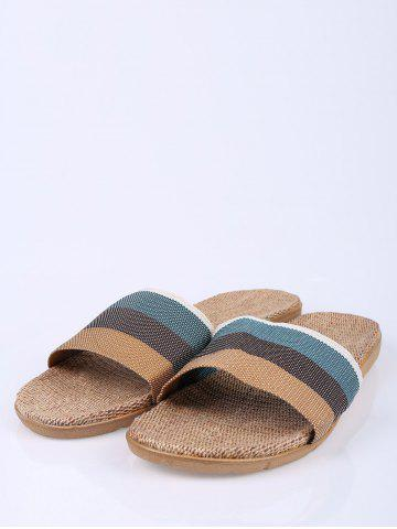 Online Jute Panel House Color Block Slippers - SIZE(42-43) GREEN Mobile