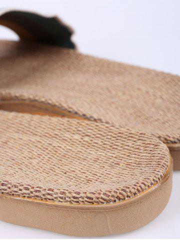 Buy Jute Panel House Color Block Slippers - SIZE(42-43) GREEN Mobile