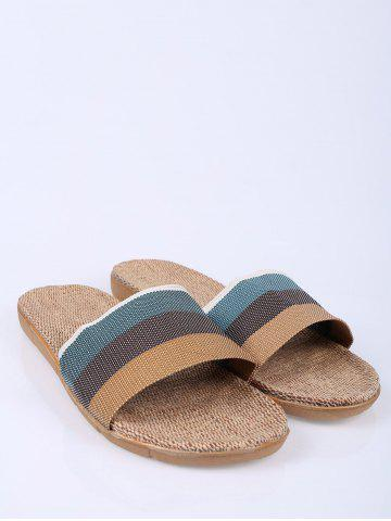 Online Jute Panel House Color Block Slippers - SIZE(44-45) GREEN Mobile