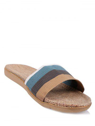 Cheap Jute Panel House Color Block Slippers - SIZE(44-45) GREEN Mobile