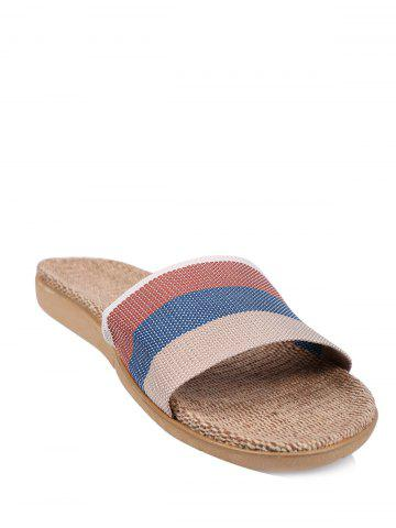 Online Jute Panel House Color Block Slippers