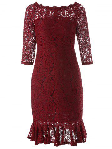 Boat Neck Mini Lace Tight Fishtail Dress - Wine Red - L