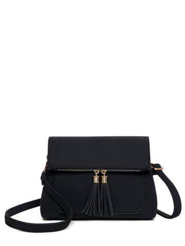 Suede Tassel Flapped Crossbody Bag - Black - 42