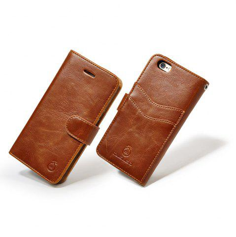 Outfit Faux Leather Flip Wallet Case with Card Slot For iPhone - FOR IPHONE 7 PLUS BROWN Mobile