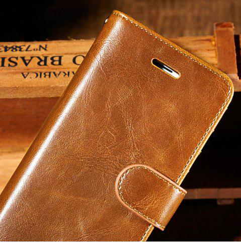 Unique Faux Leather Flip Wallet Case with Card Slot For iPhone - FOR IPHONE 7 BROWN Mobile
