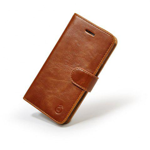 Trendy Faux Leather Flip Wallet Case with Card Slot For iPhone - FOR IPHONE 7 BROWN Mobile