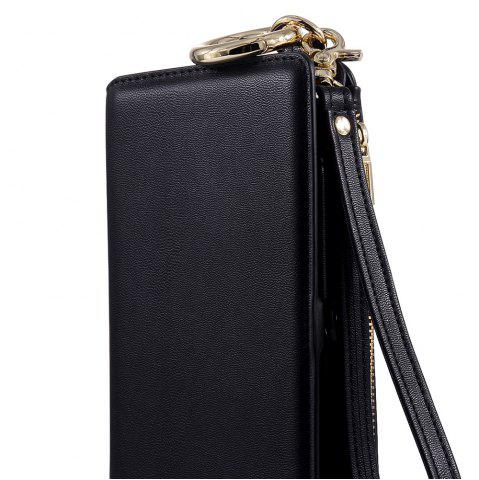 New Multifounction Faux Leather Card Slot Flip Wallet Case For iPhone - FOR IPHONE 7 BLACK Mobile