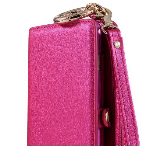 Trendy Multifounction Faux Leather Card Slot Flip Wallet Case For iPhone - FOR IPHONE 7 PLUS ROSE MADDER Mobile