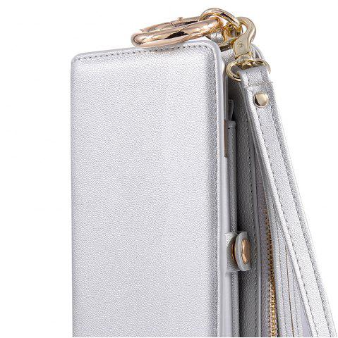 Fashion Multifounction Faux Leather Card Slot Flip Wallet Case For iPhone - FOR IPHONE 7 SILVER Mobile