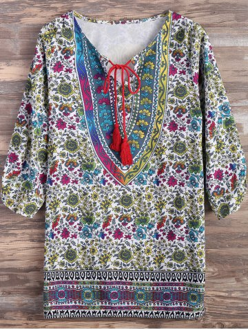 New Ethnic Style Floral Print Tassel Mini Dress COLORMIX L