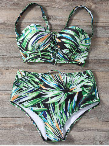 Lace Up High Waist Printed Bikini Set - Green - Xl