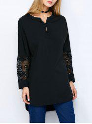 Hollow Out Long High Low Blouse
