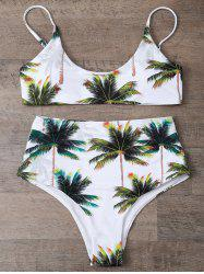 High Waisted Palm Tree Print Cami Bikini Set - WHITE