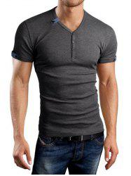 V-Neck Buttons Embellished Solid Color Short Sleeve T-Shirt For Men