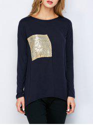 Sequin Pocket Long Sleeve High Low T-Shirt