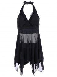 Plus Size Handkerchief Sheer Skirted  Halter Tankini Swimsuit - BLACK