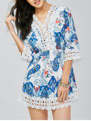 Lace Trim Paisley Mini Tunic Dress -