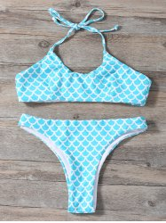 Fish Scale Print Halter Little Mermaid Bikini
