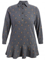 Plus Size Drop Waist Donkey Print Dress