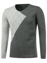 Rhombus Pattern V Neck Two Tone Sweater -