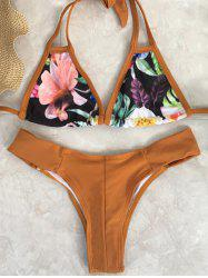 Sweet Floral Hollow Out Halter Neck Women's Bikini Set