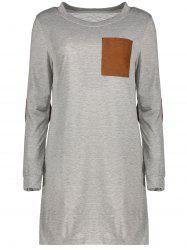 Stylish Round Neck Long Sleeve Spliced Loose-Fitting Women's Dress - GRAY