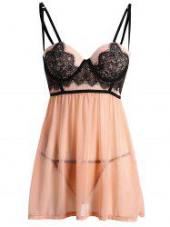 Lace Panel See Through Babydoll