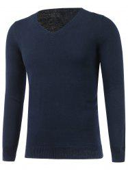 V Neck Flat Knitted Plain Sweater
