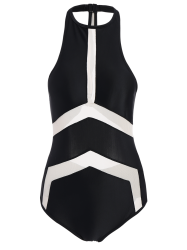 High Neck Contrast Swimsuit - BLACK M