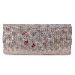 Fingers Pattern Flapped Clutch Bag - CHAMPAGNE
